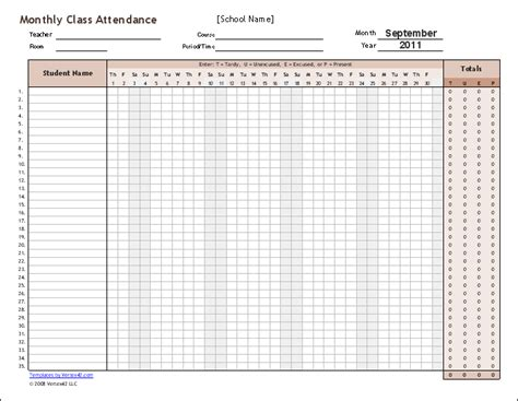 9 Monthly Attendance Sheet Templates Excel Templates Employee Monthly Attendance Sheet Template Excel