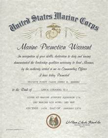 army promotion certificate template usmc e 2 e 3 enlisted promotion warrant