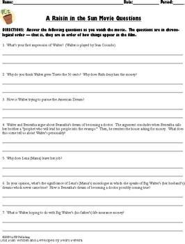 a raisin in the sun theme questions a raisin in the sun movie activities and follow along