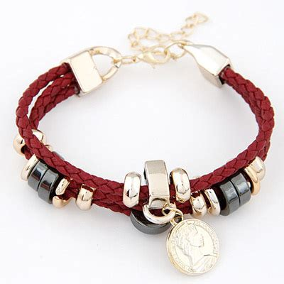 Gelang Korea Coin Shape Decorated Weave high quali claret coin shape decorated weave design