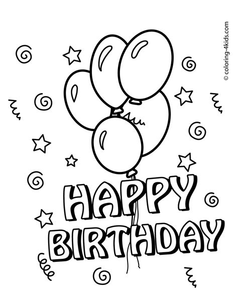 Birthday Coloring Card Template by Happy Birthday Coloring Pages With Balloons For