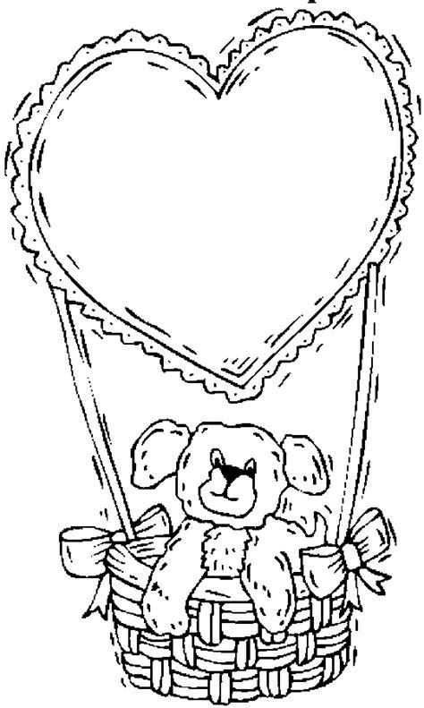 Teddy Bear & Heart Balloon Coloring Page