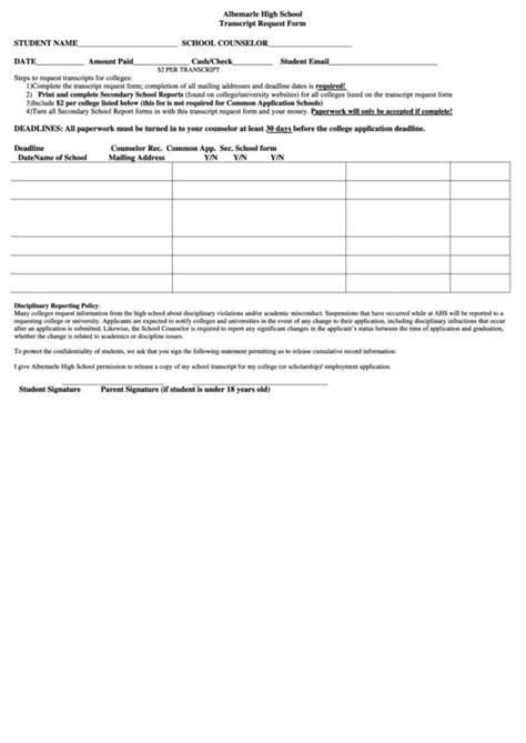 Albemarle High School Transcript Request Form Printable Pdf Download High School Transcript Template For Mac