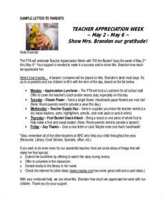 appreciation letter to parents from room appreciation week letter sle