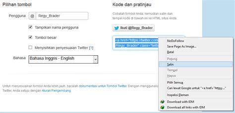 cara membuat follow twitter di website cara membuat tombol follow me twitter di blog rinda