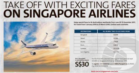 singapore airlines released    early bird fares  ocbc cardmembers book   nov