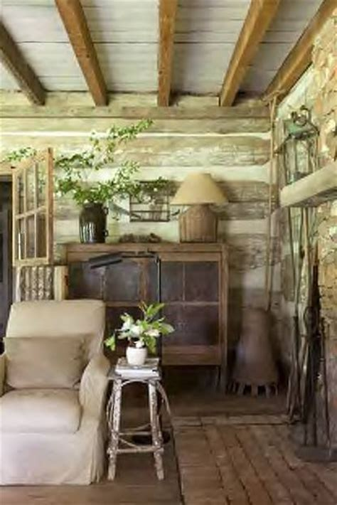 Belinda Farrell Cabin Fever by Square Beams Wide Chinking White Ceiling And Antique