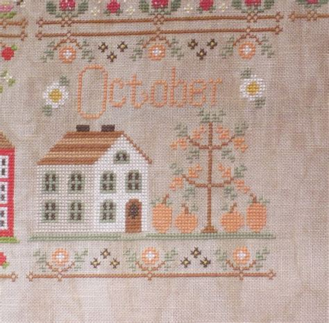 country cottage needleworks cottage of the month october cross stitch pattern 123stitch com toiles et fils october cottage de country cottage