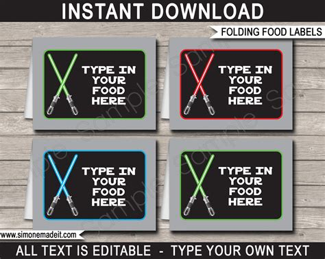 wars card template wars food labels place cards birthday