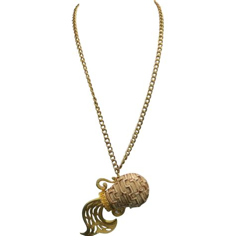 aquarius necklace extremely large pendant seventies zodiac