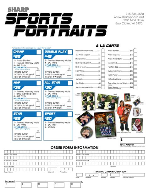 Little League Picture Order Form Google Search Photography Pinterest Photography Order Baseball Order Form Template