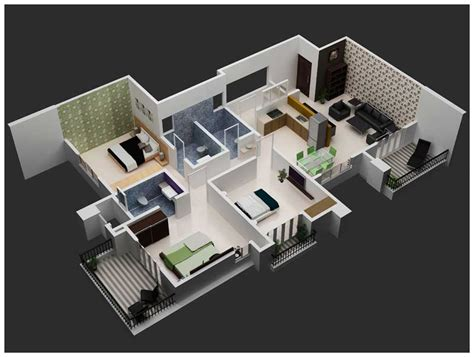 home design 3d 3 bhk 3d interior views joy studio design gallery best design