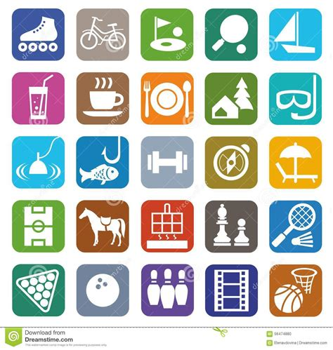 colored time icons leisure entertainment tourism color flat stock