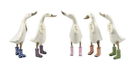 anitque white ducks wearing wellies from dcuk wooden duck