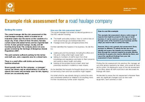 Sle Risk Assessment Roadhaulage Truck Risk Assessment Template