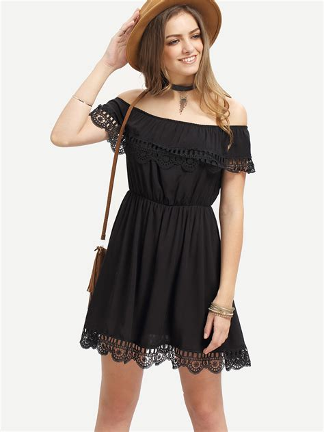 Dress Cassual black the shoulder lace scalloped casual dress