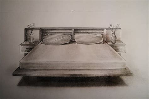 drawing of bed how to draw one point perspective bed furniture youtube