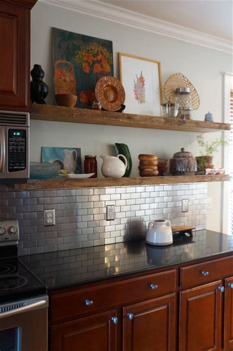 floating shelves in kitchen