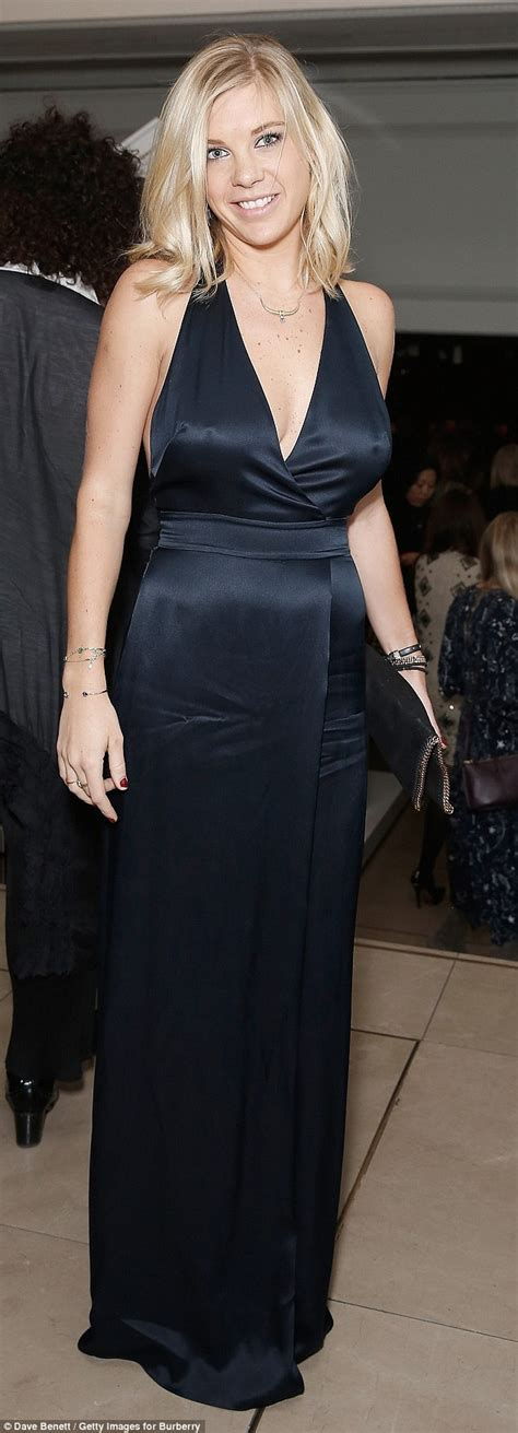 Prince Harry's ex Chelsy Davy in satin dress at Burberry