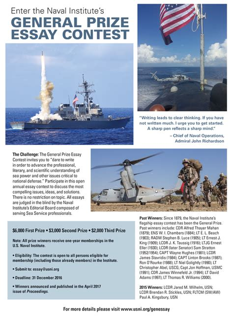 Contest Essay by 2016 General Prize Essay Contest U S Naval Institute
