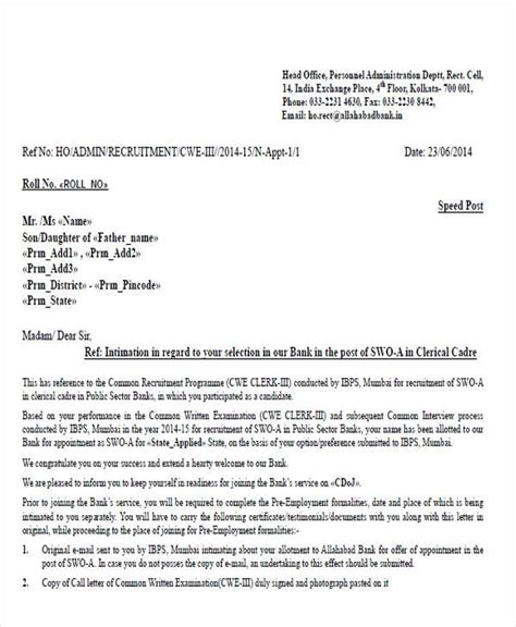 appointment letter sle for bank appointment letter confirmation sle 28 images