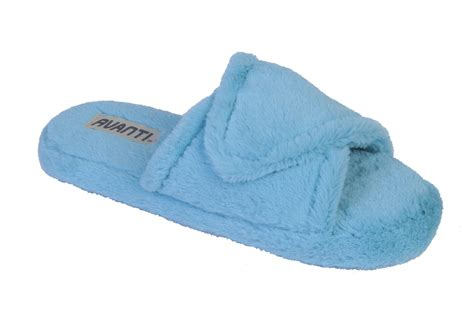 open toed slippers avanti womens mellow plush faux fur open toe spa slide