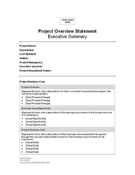 Project Overview Statement Statements Templates Department Overview Presentation Template