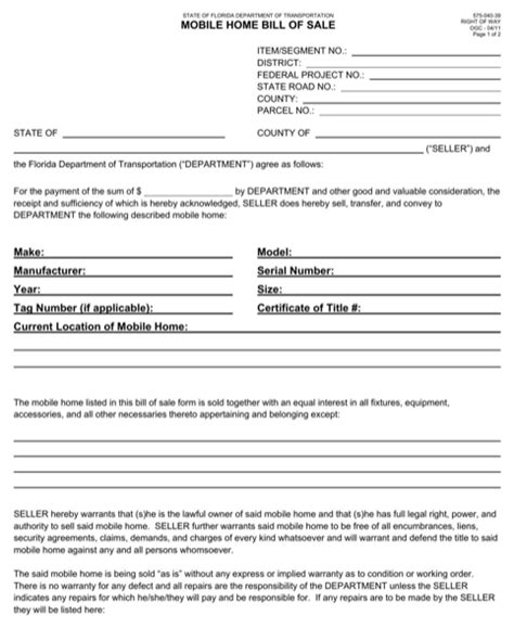 Download Manufactured Home Bill Of Sale For Free Formtemplate Manufacturer S Affidavit Template Fillable