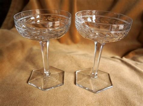 antique vintage art glass crystal glasses stemware two french baccarat art deco crystal chagne wine
