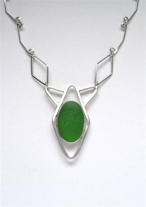 Handmade Sea Glass Jewelry - sea glass jewelry sterling green sea glass necklace with