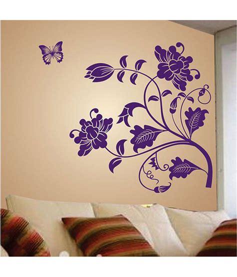 purple wall stickers stickerskart wall decals purple vine flower and butterflies wall sticker buy stickerskart wall