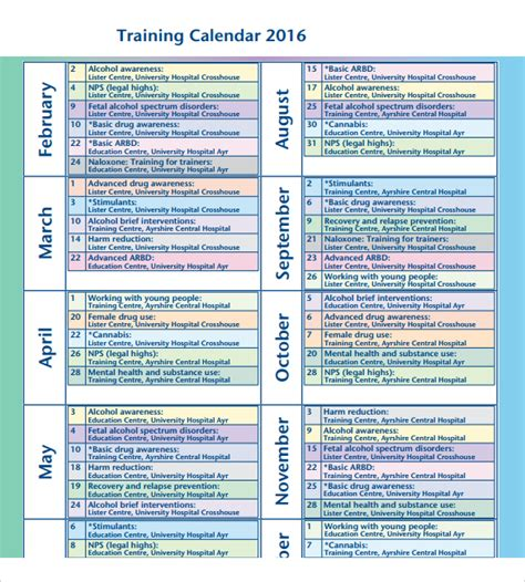 design training calendar training calendar template 11 free download for pdf