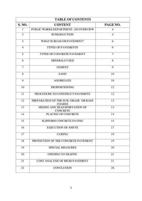 sle table of contents for project report project report on road construction