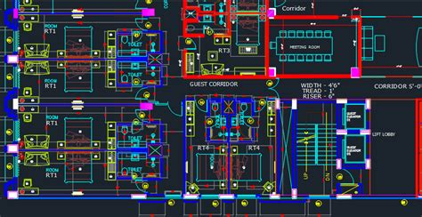 hotel room layout cad drawings hotel with 6 storeys 2d dwg design plan for autocad