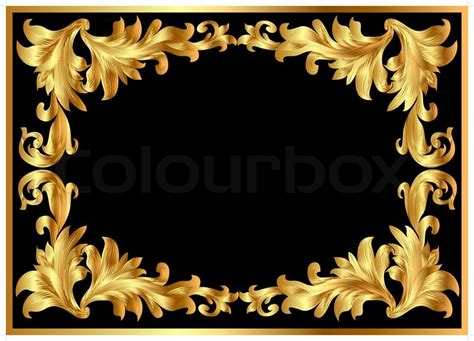 Home Design Victorian Style illustration background pattern frame from gild on black