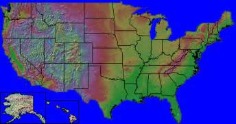 us land elevation map physical maps