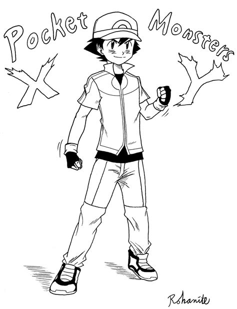 pokemon xyz coloring pages ash ketchum xy outfit by rohanite on deviantart