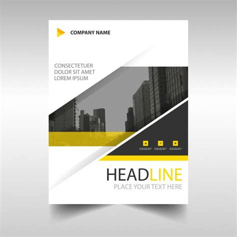 yellow modern annual report template vector free