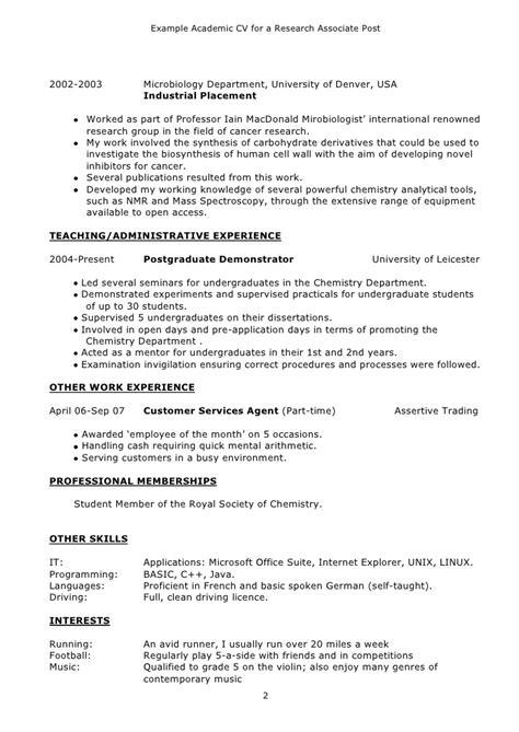 cv format research scholar exle academic cv
