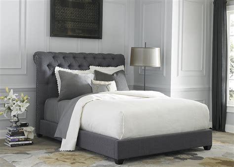 fabric headboard bedroom sets chesterfield upholstered bed gray
