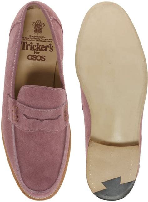 pink mens loafers tricker s beefroll suede loafers in pink for purple