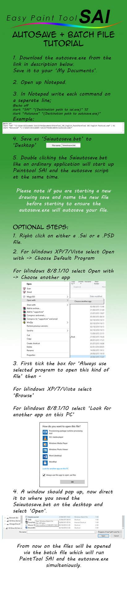 Paint Tool Sai Autosave And Batch File Tutorial By