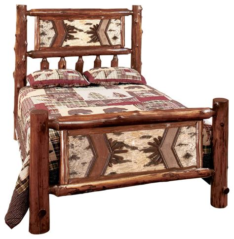 log bed headboards cedar adirondack traditional log headboard king rustic