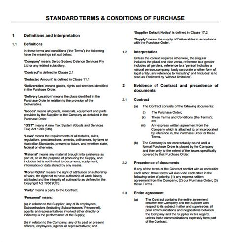 purchasing terms and conditions template sle terms and conditions 9 free documents