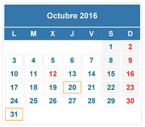 Calendario 2016 Octubre Calendario Fiscal Octubre 2016 Auditoria