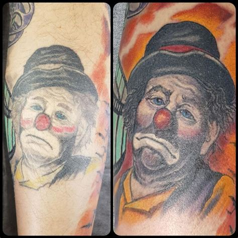 tattoo cover up portrait clown portrait cover up rework by steve malley tattoonow