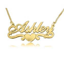 Gold Necklace With Name Ashley Heart Solid Gold Name Necklace The Name Necklace