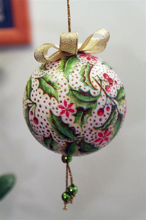 decoupage christmas ball bauble decoration