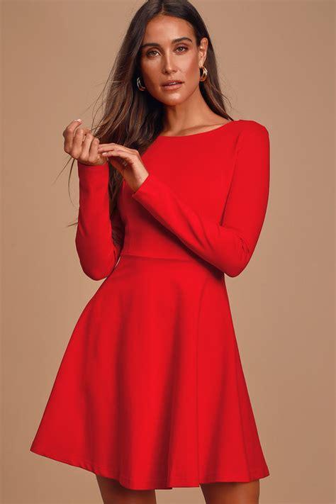 cute red dress long sleeve dress skater dress