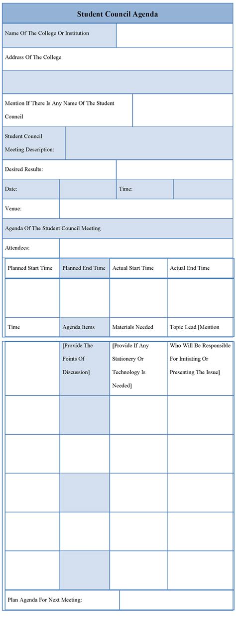 student council agenda template 5 best agenda templates